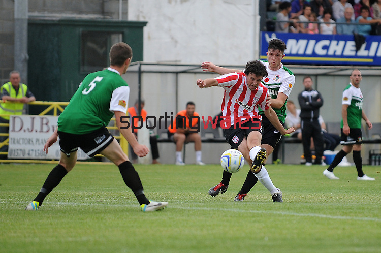 10 July 2014;Barry McNamee has a shot at goal, Derry City, , Aberystwyth Town. UEFA Europa League First Qualifying Round, Second Leg, Aberystwyth Town v Derry City. Park Avenue, Aberystwth, Wales. Picture credit: Ian Cook / SPORTINGWALES