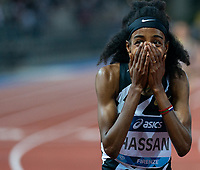10th June 2021; Stadio Luigi Ridolfi, Florence, Tuscany, Italy; Muller Diamond League Grand Prix Athletics, Florence and Rome; Sifan Hassan looks in shock as she wins the 1500m