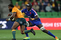 13th July 2021; AAMI Park, Melbourne, Victoria, Australia; International test rugby, Australia versus France; Ibrahim Diallo of France tackles Marika Koroibete of Australia