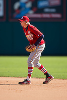 John Matthews (8) of Punxsutawney High School in Punxsutawney, Pennsylvania playing for the St. Louis Cardinals scout team at the South Atlantic Border Battle at Doak Field on November 2, 2014.  (Brian Westerholt/Four Seam Images)