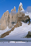 Camp with Cerro Torre group in background, Los Glaciares National Park, Argentina