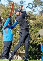 9th February 2020, Pebble Beach, Carmel, California, USA;  Jason Day begins the final round with his tee shot from the 1st hole in the championship round of the AT&T Pro-Am on Sunday