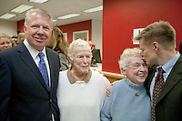 Washington state senator Ed Murray, left, and state representative Jamie Pedersen, right, embrace Jane Abbott Lighty, 77, left, and Pete-e Petersen, 85, who have been together for 35 years. minutes before they receive their marriage license. The couple are getting married on Dec 9th, the first day it is possible for same-sex couple to wed in Washington State. ..One month after Washington State voters approved the state's marriage equality law in Ref. 74, same-sex couples were able to buy a marriage license on December 6th, 2012.