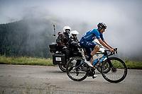 Enric Mas (ESP/Movistar) in the final kilometers up the final climb of the day; the Col du Portet (HC/2215m)<br /> <br /> Stage 17 from Muret to Saint-Lary-Soulan (Col du Portet)(178km)<br /> 108th Tour de France 2021 (2.UWT)<br /> <br /> ©kramon