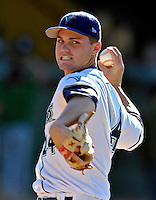 2 September 2007:  Vermont Lake Monsters pitcher Colton Willems warms up prior to a game against the Lowell Spinners at Historic Centennial Field in Burlington, Vermont. The Spinners defeated the Lake Monsters 7-3 in New York-Penn League action...Mandatory Photo Credit: Ed Wolfstein Photo