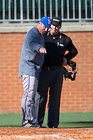 Louisiana Tech Bulldogs head coach Greg Goff (39) argues a call with home plate umpire Tom Brahan at Hayes Stadium on March 28, 2015 in Charlotte, North Carolina.  The 49ers defeated the Bulldogs 9-5 in game two of a double header.  (Brian Westerholt/Four Seam Images)