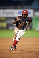 Batavia Muckdogs second baseman Samuel Castro (5) running the bases during a game against the Williamsport Crosscutters on August 3, 2017 at Dwyer Stadium in Batavia, New York.  Williamsport defeated Batavia 2-1.  (Mike Janes/Four Seam Images)