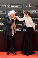 "French director Bertrand Tavernier and actress Julie Gayet in the photocall of the ""Quai D´orsay"" film premiere during the 61 San Sebastian Film Festival, in San Sebastian, Spain. September 24, 2013. (ALTERPHOTOS/Victor Blanco) <br /> San Sebastian Film Festival <br /> Foto Insidefoto"