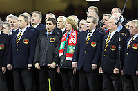 Pictured: A member of a welsh choir wearing a Wales scarf (C) Saturday 22 November 2014<br />