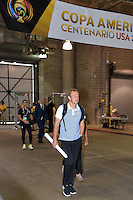 Houston, TX - Tuesday June 21, 2016: Jurgen Klinsmann, United States arriving prior to a Copa America Centenario semifinal match between United States (USA) and Argentina (ARG) at NRG Stadium.