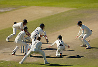 30th May 2021; Emirates Old Trafford, Manchester, Lancashire, England; County Championship Cricket, Lancashire versus Yorkshire, Day 4; Lancashire fielders put Dom Bessof Yorkshire under pressure as the home side struggles to break down the Yorkshire tail to gain victory on the 4th day