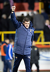 Aberdeen v St Johnstone…..05.02.20   Pittodrie   SPFL<br />St Johnstone manager Tommy Wright celebrates with the saints fans at full time<br />Picture by Graeme Hart.<br />Copyright Perthshire Picture Agency<br />Tel: 01738 623350  Mobile: 07990 594431