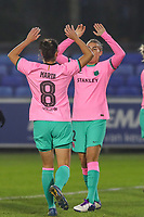 Marta Torrejon (8 Barcelona)  and Patricia Guijarro (12 Barcelona)  celebrate their team's goal during a female soccer game between PSV Eindhoven Vrouwen and Barcelona, in the round of 32, 1st leg of Uefa Womens Champions League of the 2020 - 2021 season , Wednesday 9th of December 2020  in , Eindhoven, the Netherlands. PHOTO SPORTPIX.BE | SPP | SEVIL OKTEM