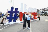 Christian Estrosi et Dominique Serra Fondatrice et Directrice GÈnÈrale du Rallye - 27Ëme Èdition du Rallye 'Aicha des Gazelles' au dÈpart de la ville de Nice, le samedi 18 mars 2017. # DEPART DU RALLYE 'AICHA DES GAZELLES' A NICE