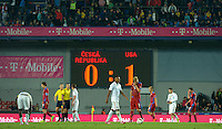 PRAGUE, Czech Republic - September 3, 2014: Players of both teams react after the international friendly match between the Czech Republic and the USA at Generali Arena.