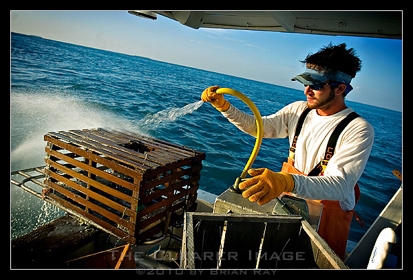First Mate Travis Lawlor sprays down an empty lobster trap before returning it to the sea to prevent the buildup of algae and kelp that can destroy the wooden traps over time.