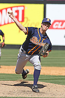 Jeremy Hall #15 of the Montgomery Biscuits pitching during a game against the Carolina Mudcats on April 18, 2010 in Zebulon, NC.