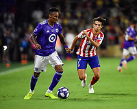Orlando, FL - Wednesday July 31, 2019:  Mark-Anthony Kaye #15, João Félix #7 during an Major League Soccer (MLS) All-Star match between the MLS All-Stars and Atletico Madrid at Exploria Stadium.