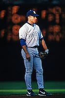 Rey Sanchez of the Kansas City Royals during a game against the Anaheim Angels at Angel Stadium circa 1999 in Anaheim, California. (Larry Goren/Four Seam Images)