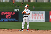 Oregon State Beavers second baseman Ryan Ober (18) during a game against the New Mexico Lobos on February 15, 2019 at Surprise Stadium in Surprise, Arizona. Oregon State defeated New Mexico 6-5. (Zachary Lucy/Four Seam Images)