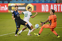 SAN JOSE, CA - SEPTEMBER 16: Steve Clark #12 of the Portland Timbers defends the shot of Vako #11 of the San Jose Earthquakes during a game between Portland Timbers and San Jose Earthquakes at Earthquakes Stadium on September 16, 2020 in San Jose, California.