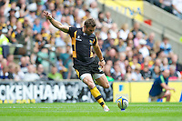 Nick Robinson of London Wasps takes a conversion attempt during the Aviva Premiership match between London Wasps and Harlequins at Twickenham on Saturday 1st September 2012 (Photo by Rob Munro).
