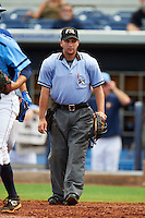 Umpire Joe George during a game between the Dunedin Blue Jays and Charlotte Stone Crabs on July 26, 2015 at Charlotte Sports Park in Port Charlotte, Florida.  Charlotte defeated Dunedin 2-1 in ten innings.  (Mike Janes/Four Seam Images)