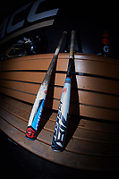 A pair of Louisville Slugger bats sit on the Wake Forest Demon Deacons bench prior to the game against the Notre Dame Fighting Irish at David F. Couch Ballpark on March 10, 2019 in  Winston-Salem, North Carolina. The Demon Deacons defeated the Fighting Irish 7-4 in game one of a double-header.  (Brian Westerholt/Four Seam Images)