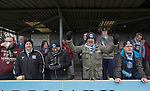 Runcorn Town 1 Runcorn Linnets 0, 26/12/2013. The Pavilions, North West Counties League Premier Division. Home supporters cheering on their team during the first-half of the Boxing Day derby match between Runcorn Town and visitors Runcorn Linnets at the Pavilions, Runcorn, in a top-of the table North West Counties League premier division match. Runcorn Linnets won 1-0 and overtook their neighbours at the top of the league in a game watched by 803 spectators. Runcorn Linnets were a successor club to Runcorn FC, one of England foremost non-League clubs of the 1970s and 1980s. Photo by Colin McPherson.