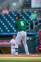 Daytona Tortugas third baseman Jonathan India (6) at bat during a Florida State League game against the Palm Beach Cardinals on April 11, 2019 at Roger Dean Stadium in Jupiter, Florida.  Palm Beach defeated Daytona 6-0.  (Mike Janes/Four Seam Images)