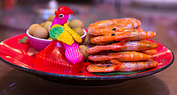 Wenzhou, Zhejiang, China.  Shrimp for Dinner, passing by on a Lazy Susan.