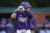 Pascanel Ferreras (1) of the Western Carolina Catamounts at bat against the St. John's Red Storm at Childress Field on March 12, 2021 in Cullowhee, North Carolina. (Brian Westerholt/Four Seam Images)