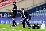 St Johnstone v Hibs…22.05.21  Scottish Cup Final Hampden Park<br />Manager Callum Davidson directs his payers as 4th official Kevin Clancy holds up the board for stoppage time<br />Picture by Graeme Hart.<br />Copyright Perthshire Picture Agency<br />Tel: 01738 623350  Mobile: 07990 594431