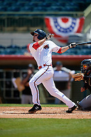 Florida Fire Frogs Riley Delgado (8) bats during a Florida State League game against the Jupiter Hammerheads on April 11, 2019 at Osceola County Stadium in Kissimmee, Florida.  Jupiter defeated Florida 2-0.  (Mike Janes/Four Seam Images)