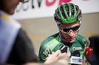 Thomas Voeckler (FRA/Europcar) mobbed by French press after the stage<br /> <br /> stage 16: Bourg de Péage - Gap (201km)<br /> 2015 Tour de France