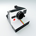 Vintage instant camera, evenly lit on a clean studio background. Accurate CGI model based on popular Polaroid Land Camera One Step first introduced in 1977.