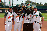 Buffalo Bisons outfielder Jason Cooper (left) and infielder Ryan Garko (right) pose with mascots Buster T. Bison and Chip Bison during an International League game at Dunn Tire Park on August 6, 2006 in Buffalo, New York.  (Mike Janes/Four Seam Images)
