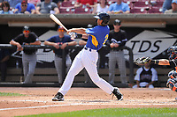 Wisconsin Timber Rattlers center fielder Ryan Aguilar (21) swings during a game against the Quad Cities River Bandits at Fox Cities Stadium on June 27, 2017 in Appleton, Wisconsin.  Wisconsin lost 6-5.  (Dennis Hubbard/Four Seam Images)