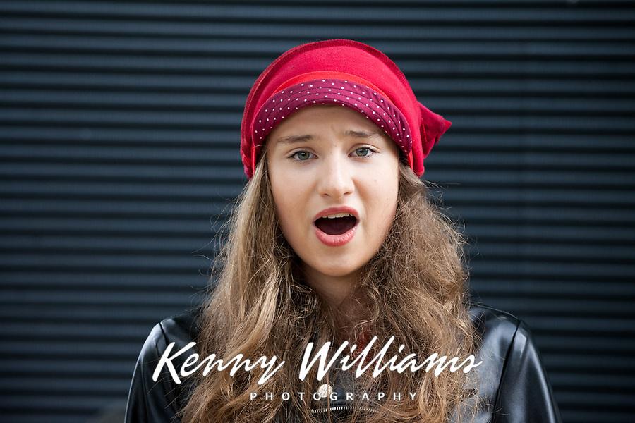 Girl singing opera music, Northwest Folklife Festival 2016, Seattle Center, Washington, USA.