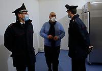 Ciro Verdeoliva  and Carabinieri arer seen in Vaccine Center of Stazione Marittima in Naples