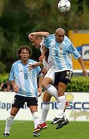 Gabriel Milito, left, Clint Mathis, middle, Pablo Gui–azœ, right, Argentina vs. USA, Miami, Fla.