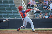 Anderson Franco (13) of the Hagerstown Suns follows through on his swing against the Kannapolis Intimidators at Kannapolis Intimidators Stadium on May 6, 2018 in Kannapolis, North Carolina. The Intimidators defeated the Suns 4-3. (Brian Westerholt/Four Seam Images)
