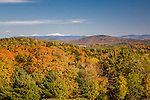 Autumn view of the Green and White Mountain ranges from Danville, VT