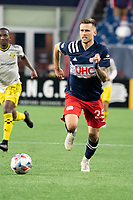 FOXBOROUGH, MA - MAY 16: Amor Traustason #25 of New England Revolution during a game between Columbus SC and New England Revolution at Gillette Stadium on May 16, 2021 in Foxborough, Massachusetts.