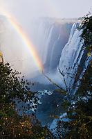 Victoria Falls, early morning rainbow, Zambia