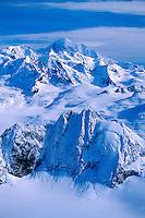 Alaskan landscape of the snow-covered Fairweather Mountains. Glacier Bay National Park, Alaska.<br />