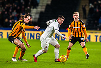 Sheffield United's midfielder John Fleck (4) turns Hull City's midfielder Jackson Irvine (4) during the Sky Bet Championship match between Hull City and Sheff United at the KC Stadium, Kingston upon Hull, England on 23 February 2018. Photo by Stephen Buckley / PRiME Media Images.