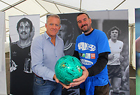 Pictured L-R: Alan Curtis with Scott McLachlan who is walking to all 92 stadia in the UK. Saturday 13 October 2012<br /> Re: Swansea City FC family day out on the grounds of the Liberty Stadium, south Wales.