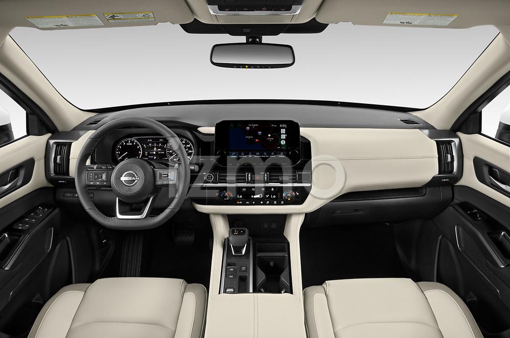 Stock photo of straight dashboard view of 2022 Nissan Pathfinder SL 5 Door SUV Dashboard