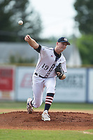 High Point-Thomasville HiToms starting pitcher Mac Sceroler (19) in action against the Asheboro Copperheads at Finch Field on June 12, 2015 in Thomasville, North Carolina.  The HiToms defeated the Copperheads 12-3. (Brian Westerholt/Four Seam Images)